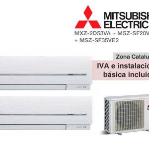 AIRE ACONDICIONADO MITSUBISHI 2X1 MXZ-2D53VA + MSZ-SF20VE2 + MSZ
