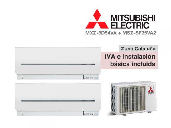 AIRE ACONDICIONADO MITSUBISHI 2X1 MXZ-3D54VA + MSZ-SF35VA2